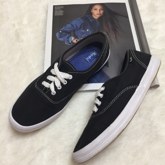 ba7bcbfe65fe7 Women s KEDS CHAMPION Black Canvas Sneakers